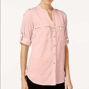 Blush and Gold detail Zip-Pocket Utility Blouse